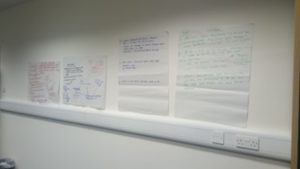 Notes from the Thriving Places Case Study Development work stuck on the wall