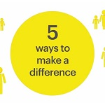 Clip from video showing a yellow circle with 5 ways to make a difference