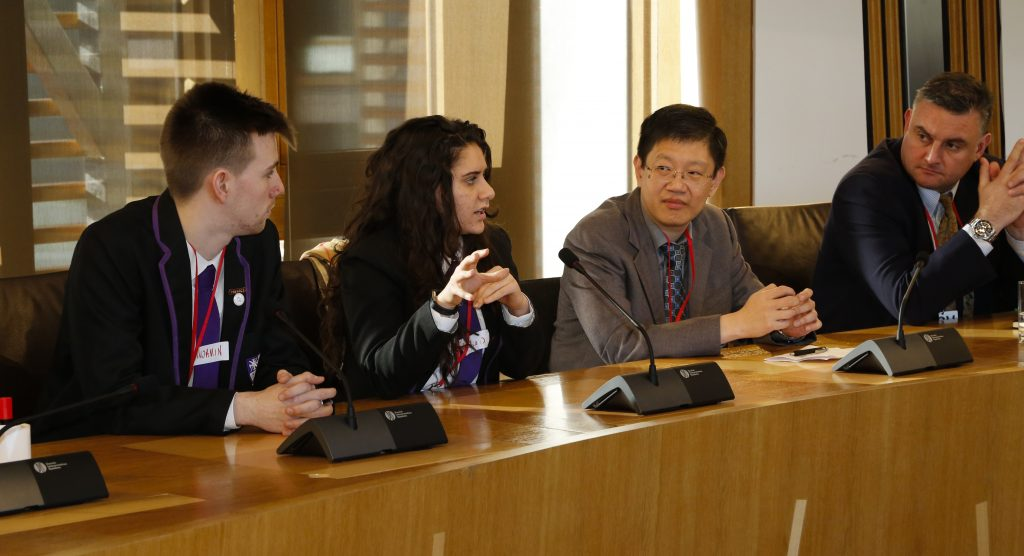 ICEA members Professor Chris Chapman and Dr Pak Tee Ng listen to young people's views on Scottish education at the ICEA meeting in the Scottish Parliament on Tuesday 28 February 2017