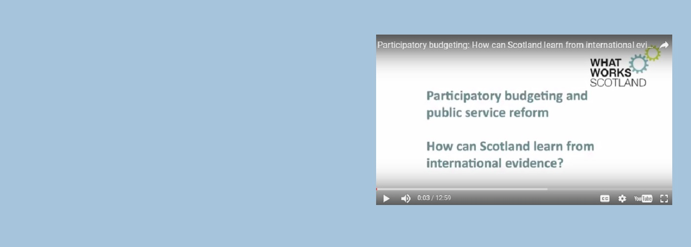 Public service reform and participatory budgeting: How can Scotland learn from international evidence?