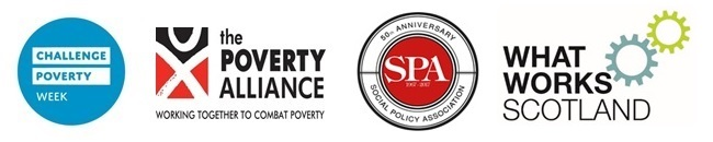 Logos of Challenge Poverty Week, the Poverty Alliance, the Social Policy Association and What Works Scotland