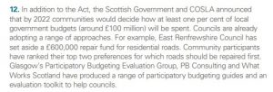 "screenshot of text from pg 14 of the Local Government In Scotland Challenges And Performance 2018 report which includes: ""Glasgow's Participatory Budgeting Evaluation Group, PB Consulting and What Works Scotland have produced a range of participatory budgeting guides and an evaluation toolkit to help councils."""