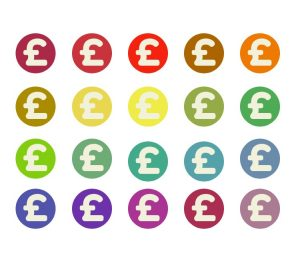Graphic with lots of differently-coloured circles with pound signs inside them