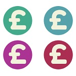 Graphic with four differently-coloured circles with pound signs inside them