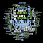 Wordcloud related to participation requests. The largest words are participation, community, regulations, response, reasons, request, please, public, service, process, information