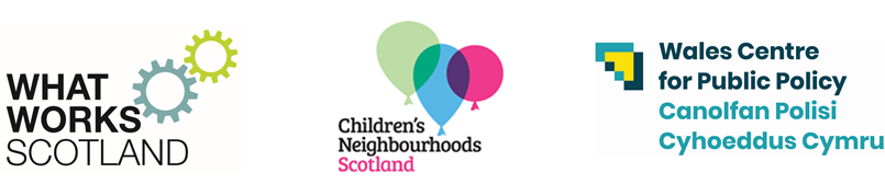 logos of What Works Scotland, Children's Neighbourhoods Scotland, Wales Centre for Public Policy