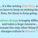 """… it's like setting little fires, and you have to keep on stoking those fires, for them to keep going. … Culture change is hugely difficult and takes a huge resource. …Because the only other thing that changes culture is disaster""."