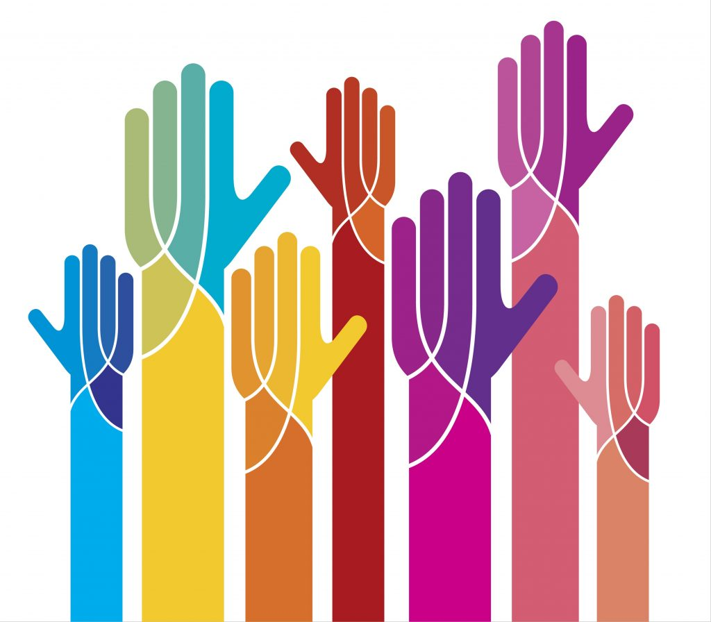 An image of seven hands reaching up; they are all different colours are shaped a little like trees