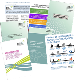 Covers of a variety of What Works Scotland reports and resources